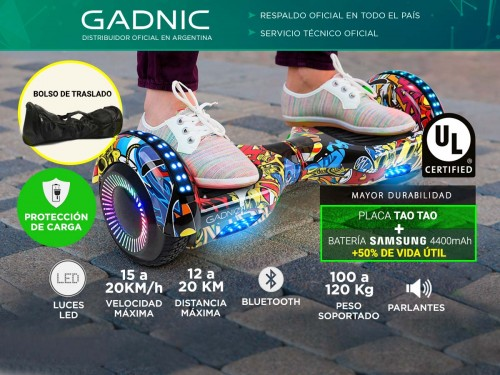 Patineta Eléctrica Gadnic Balance Bluetooth Hasta 120kg 20km/h Placa T