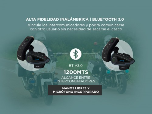 Intercomunicador Moto Gadnic G-800 Kit x2 Bluetooth