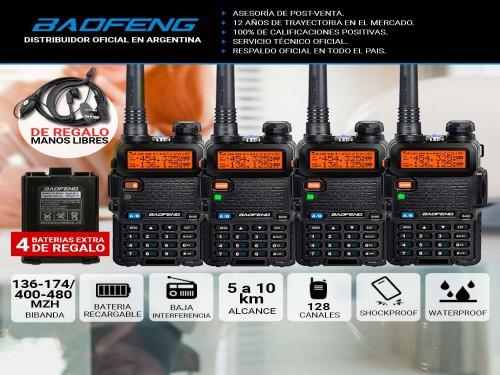Handy Baofeng UV-5R Kit x4 Bi-Banda 5w Hasta 12km + 8 Baterías y 4 Man