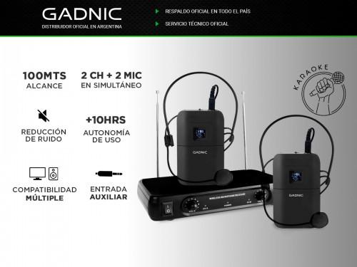 Micrófono Inalámbrico Vincha Gadnic 2CH + 2 Mic Hasta 100mts Ideal Con