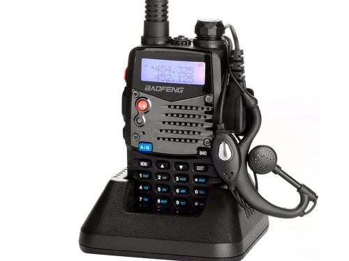 Handy Baofeng UV-5RA Bi-Banda 5w 128CH Hasta 10km + 2 Baterías y Manos