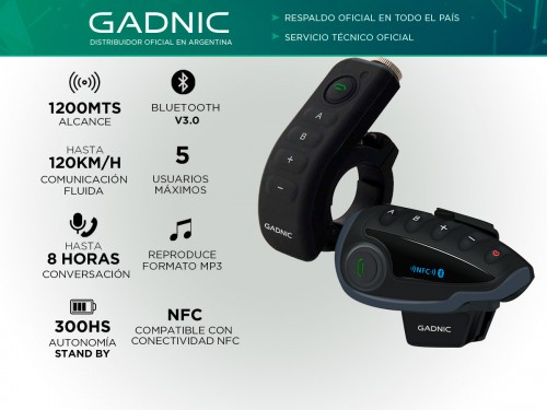 Intercomunicador Moto Gadnic G-800 Manos Libres Bluetooth 1200mts Hast