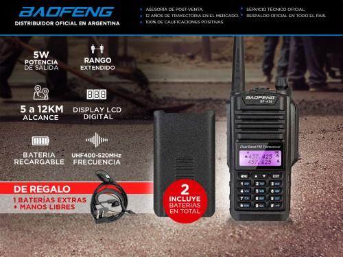 Handy Baofeng A-58 Bi-Banda 5w 128CH Hasta 12km + 2 Baterías y Manos L