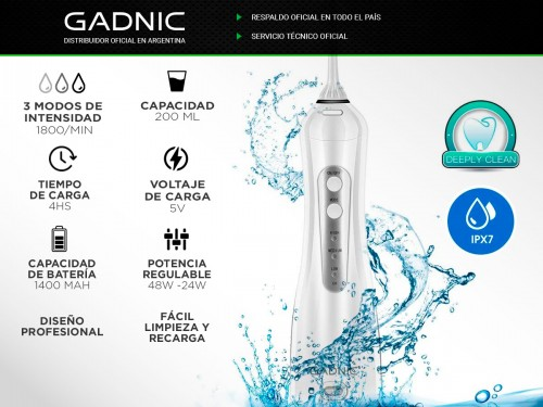 Irrigador Bucal Gadnic 100psi 200ml 3 Velocidades Inalámbrico 4 Boquil