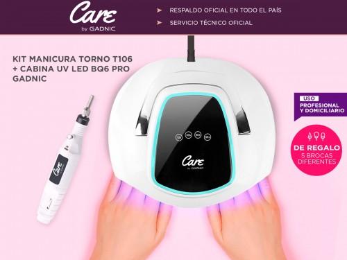 Kit Para Uñas Gadnic Torno T102 + Cabina UV Led BQ6 Pro Uso Profesiona