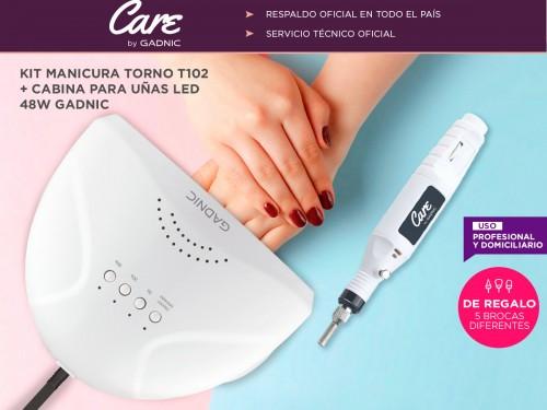 Kit Para Uñas Gadnic Torno T102 + Cabina UV Ledsun 48w Uso Profesional