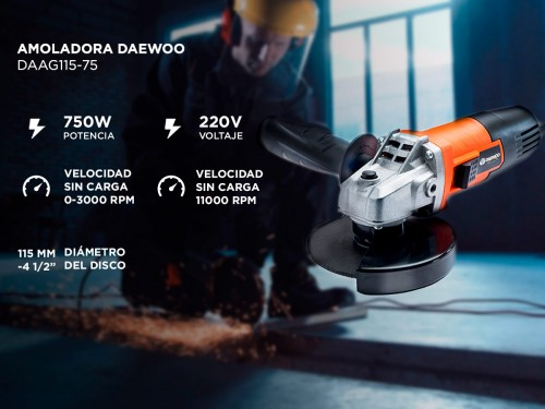 Combo Amoladora y Taladro Daewoo DAAG115-75 + DAID550