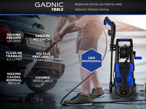 Hidrolavadora Gadnic KP2000 Alta Presión Gadnic 1400w 120 Bar Con Rued