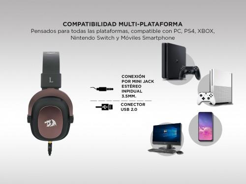 Auricular Gamer Redragon H510 Zeus con micrófono 7.1 USB / Plug PC PS4