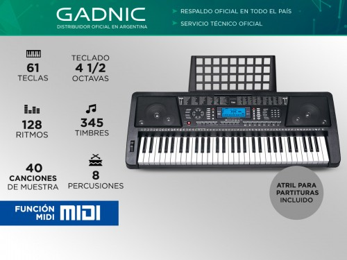 Órgano Eléctrico Gadnic T04 61 Teclas Display LCD Midi 128 Ritmos 4 1/