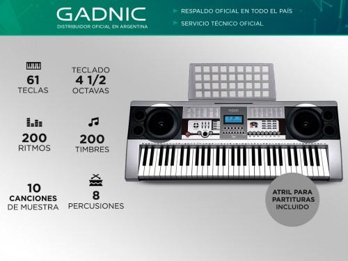 Órgano Eléctrico Gadnic T03 61 Teclas 5 Octavas 200 Ritmos 8 Percusion