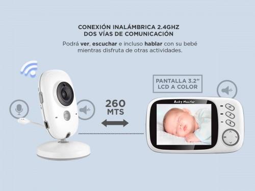 "Baby Call Gadnic con Cámara Visión Nocturna a Color 3,2"" Temperatura A"