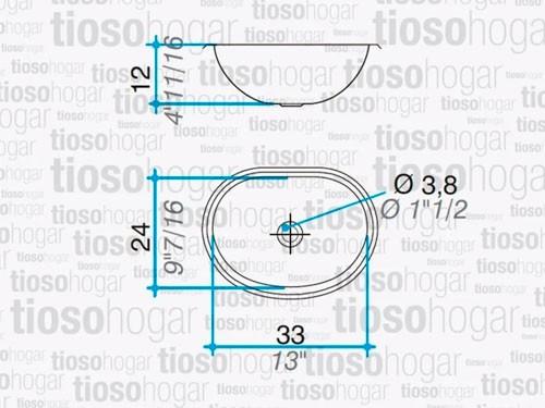 Bacha Baño Ov 330l De Acero Inox. Johnson Linea 30 Promo