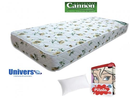 Combo Colchon Tropical Cannon 080x190 + Sabanas Piñata + Almohada