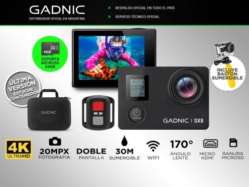 Cámara Deportiva Gadnic SX8 4K 20Mpx Doble Pantalla + Batería Extra
