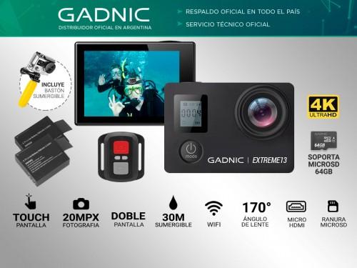 Cámara Deportiva Gadnic SX10 4K 20Mpx Pantalla Touch + Batería Extra