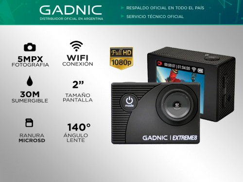 Cámara Deportiva Gadnic Extreme8 Full Hd Sumergible 30mts + Batería Ex