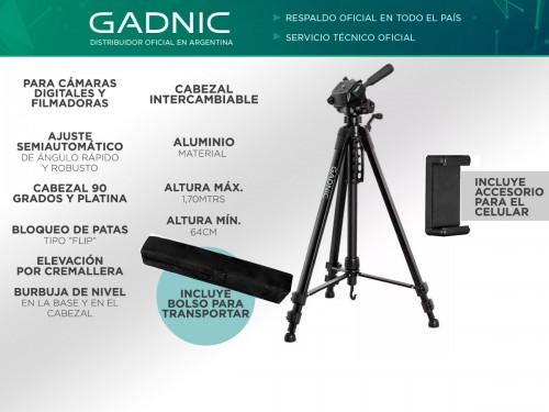 Trípode Gadnic Profesional de Aluminio Regulable 0.64 a 1.70mts Hasta