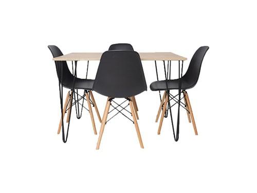 Set Mesa Venecia 110x80 + 4 Sillas Eames Negro