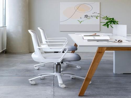 Silla de escritorio oficina ejecutiva Fresa Blanca