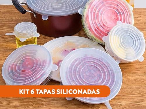 Kit 6 tapas siliconadas transparentes reutilizables - Varios tamaños