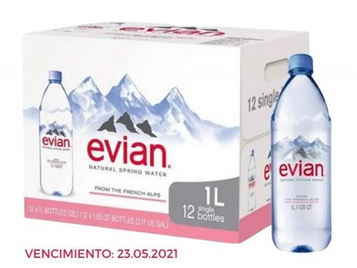Agua Mineral Sin Gas 1 Litro Evian - Consumo Inmediato