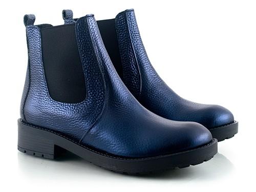Botas de cuero azul metalizado Serif La Leopolda