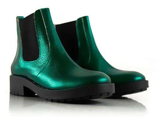 Botas con elastico de cuero verde metalizado Serif La Leopolda