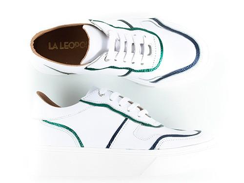 Zapatillas blancas de cuero con ribetes metalizados Tafí La Leopolda