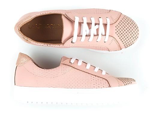 Zapatillas de cuero grabadas rosas con tachitas Snatch