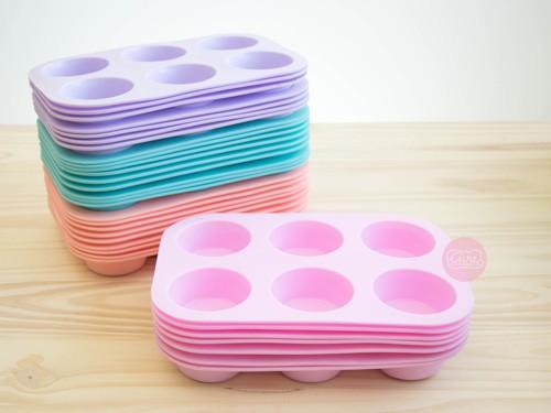 Molde de silicona 6 muffins pastel