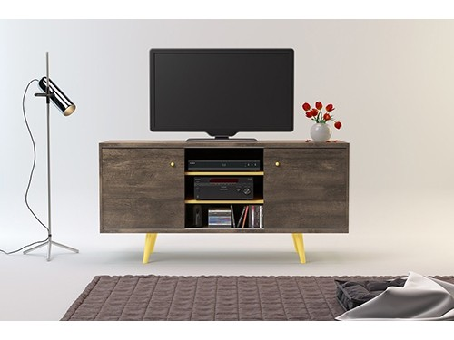 Rack para TV Moderno 1.35mts Tono Roble Ottilia