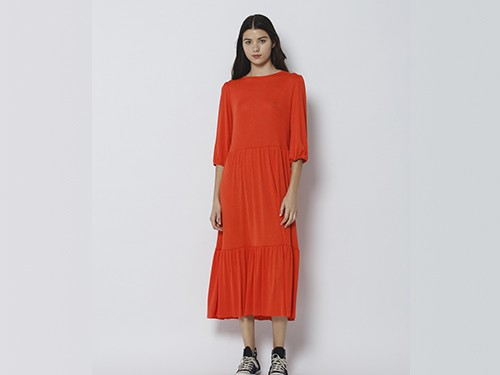 Vestido Mujer en Creppe Margot Long Naranja Wanama