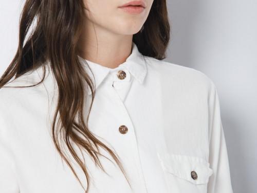 Camisa Mujer de Algodón con Mangas Largas Blanco Dignity Cotton Wanama