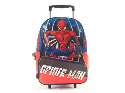 Mochila Escolar Spider-man Crime Fighter con Carro Azul 16 Pulgadas