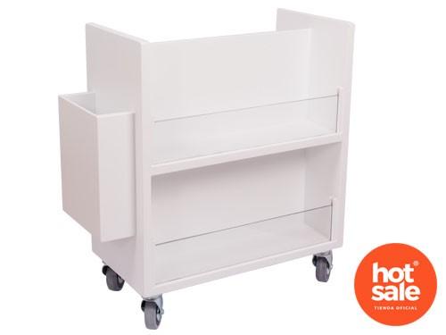 Librero rodante de acrílicos con ruedas con freno con cuatro estantes