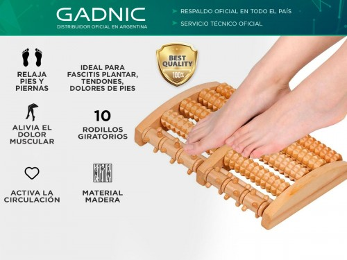 Masajeador Gadnic Para Pies de Madera 10 Rodillos Relaja