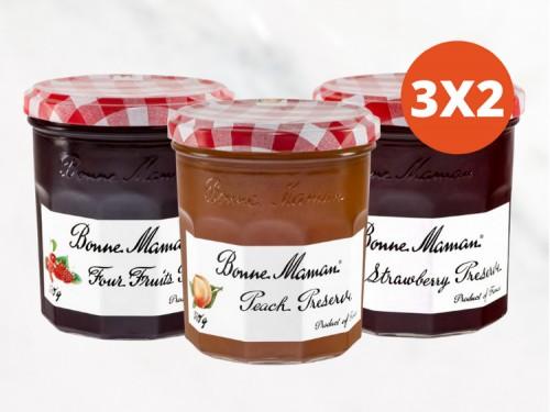 Mermelada de Durazno, Frutilla y 4 Frutas 370 Gr. Bonne Maman 3x2
