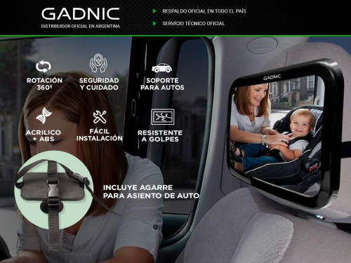 Espejo Retrovisor Auto Bebe Gadnic Con Agarre Ajustable