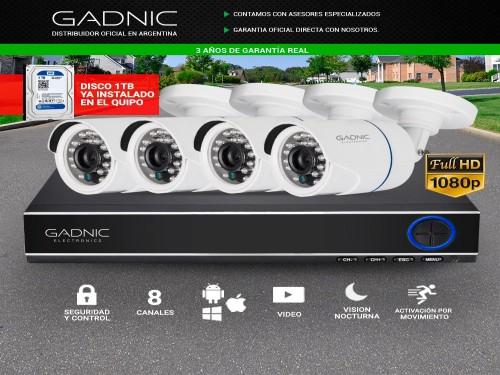 Cámaras de Seguridad x4 + DVR 8CH Gadnic SX14 IP CCTV  1Tb