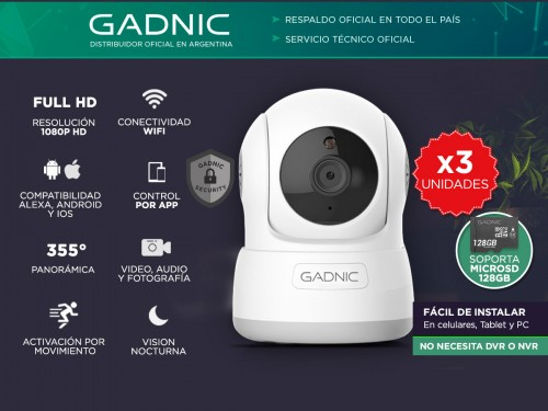 Cámaras de Seguridad Gadnic SX10 x3 IP WiFi Domo Motorizado Full HD
