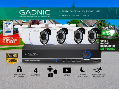 Cámaras de Seguridad x4 + DVR Gadnic SX29 Interior / Exterior 1tb