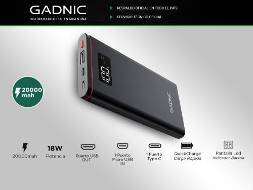Power Bank Gadnic 20000 mAh + Display