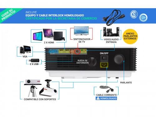 Proyector Gadnic Iron Style Wifi 5500 Lúmenes Android USB HDMI