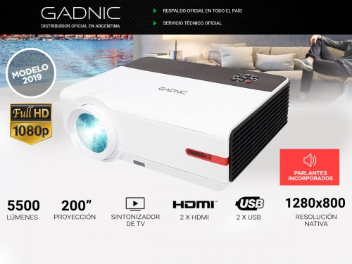 Proyector Gadnic Iron Style 5500 Lúmenes Android USB HDMI Sinto TV