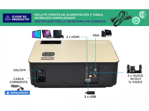 Proyector Gadnic Pro View Gold Edition 5000 Lúmenes Android WiFi Bluet