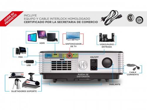 Proyector Gadnic Prolight 4500 Lúmenes HDMI USB VGA Sinto TV