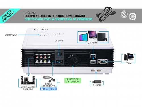 Proyector Gadnic H-Pro 4800 Lúmenes HDMI USB VGA