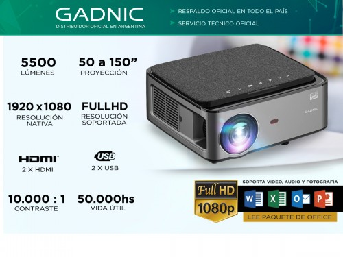 Proyector Gadnic Surr 5500 Lumenes Hdmi