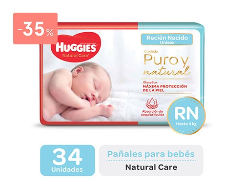 HUGGIES - Pañales natural care recien nacido | FarmaOnline